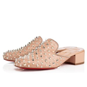 Christian Louboutin Spiked Nude Beige Mules