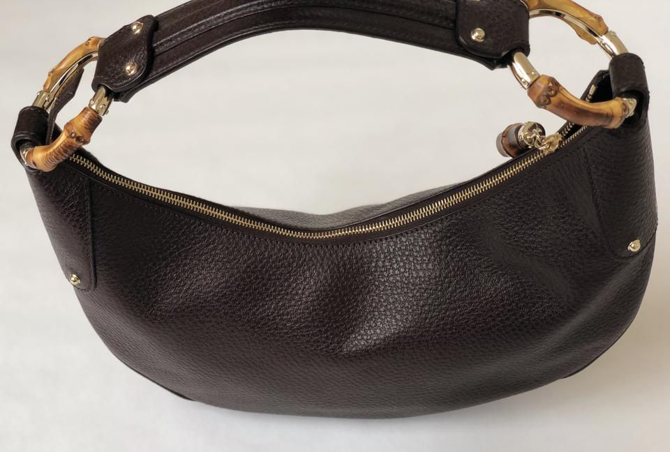 6d6da843cc81 Gucci Bamboo Leather Wooden Vintage Hobo Bag. 12345