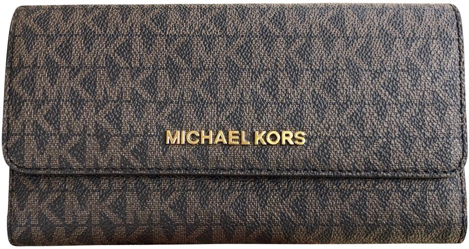 6e4e5c80a05d Michael Kors Brown Mk Mulberry Jet Set Travel Pvc Large Trifold Wallet