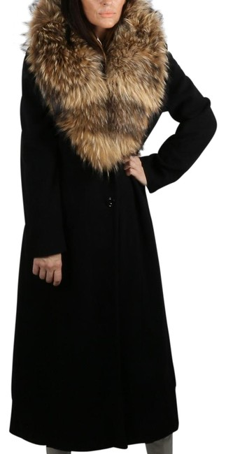 Item - Black Lambswool Fox Collar Coat Size 10 (M)