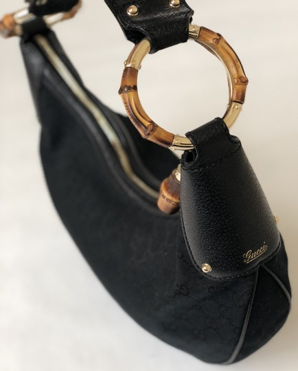 Gucci Vintage Canvas Monogram Satchel in Black Image 1