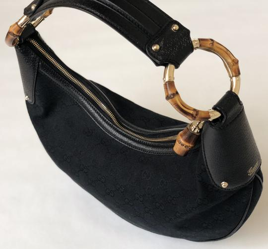 Gucci Vintage Canvas Monogram Satchel in Black Image 3