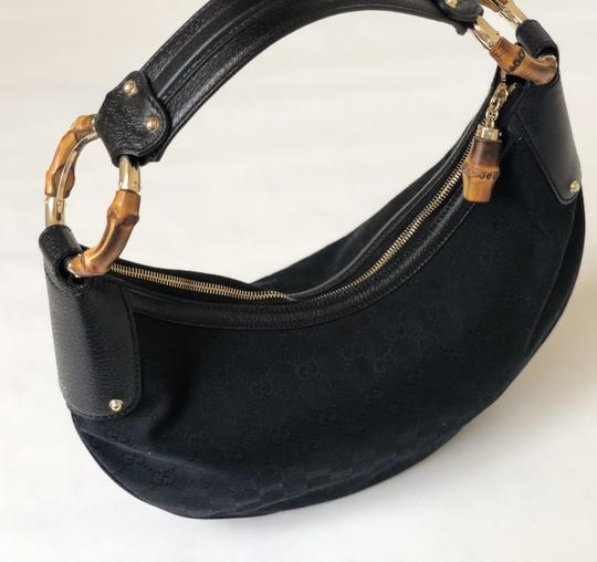 Gucci Vintage Canvas Monogram Satchel in Black Image 5