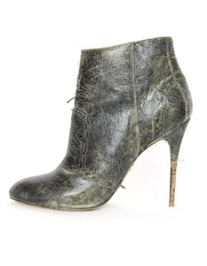 Maison Margiela Distressed Leather Heeled Green Boots