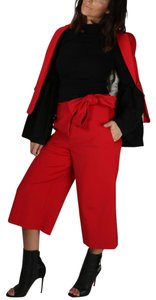 Tibi Capri Dressy Wide Leg Pants Red