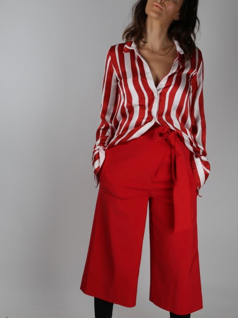 Tibi Capri Dressy Wide Leg Pants Red Image 1