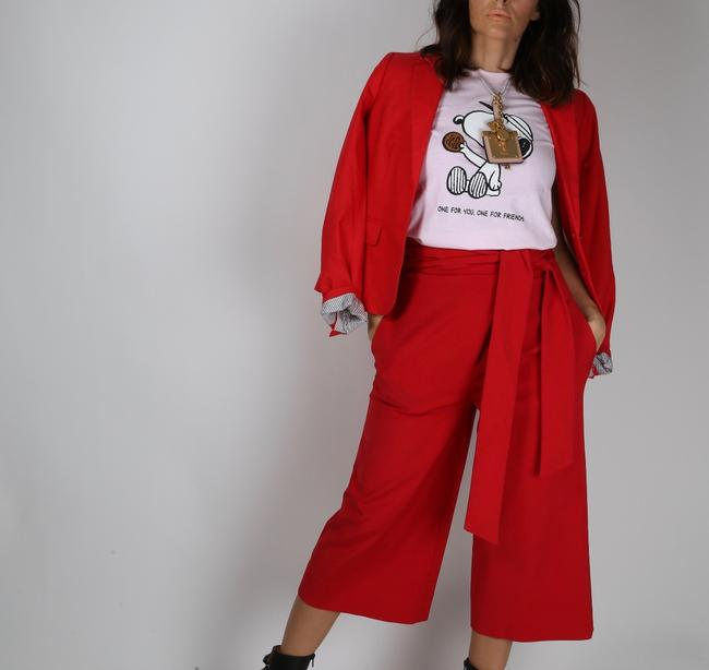Tibi Capri Dressy Wide Leg Pants Red Image 3