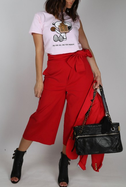 Tibi Capri Dressy Wide Leg Pants Red Image 4