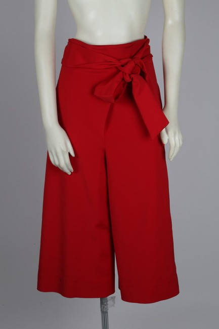 Tibi Capri Dressy Wide Leg Pants Red Image 7