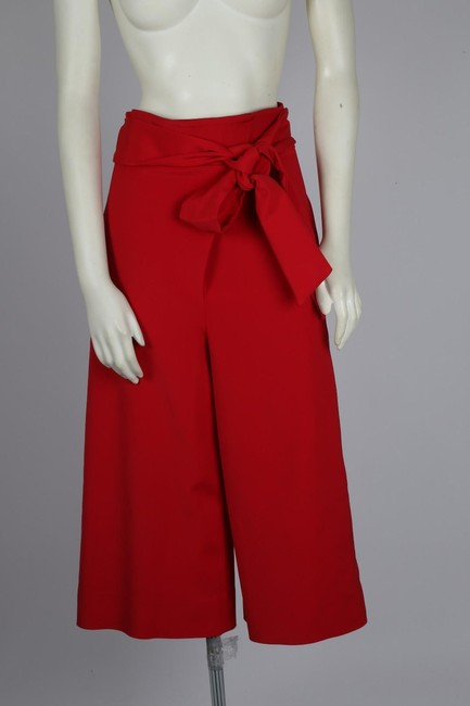 Tibi Capri Dressy Wide Leg Pants Red Image 8