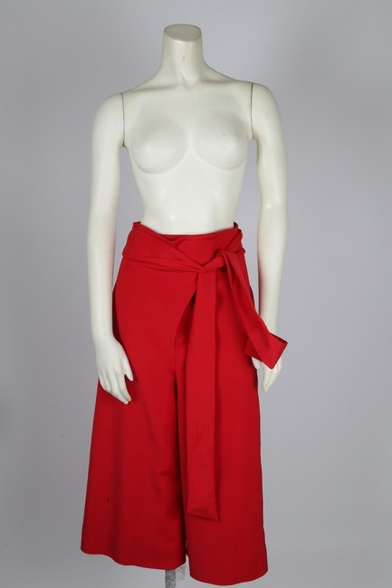 Tibi Capri Dressy Wide Leg Pants Red Image 9