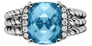 David Yurman DAVID YURMAN PETITE WHEATON RING WITH BLUE TOPAZ AND DIAMONDS SIZE 7