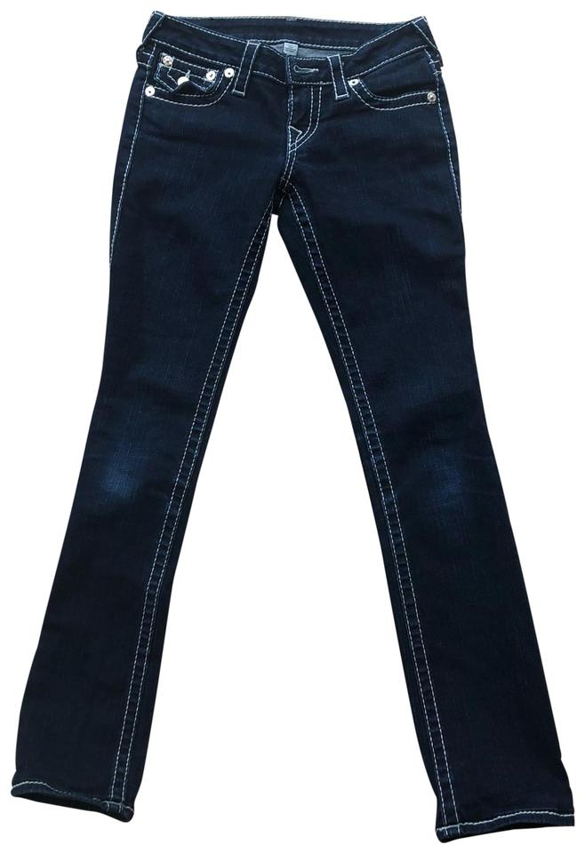 cc7103ad2f55a4 True Religion Dark Blue Rinse Straight Wash White Stitching Skinny Jeans