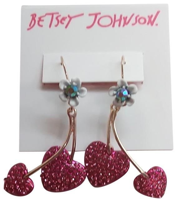 Item - Hot Pink New Hearts and Flower Earrings