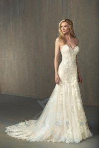 Adrianna Papell Ivory Over Light Gold Lace/Tulle/Grosgrain 31052 Feminine Wedding Dress Size 14 (L)
