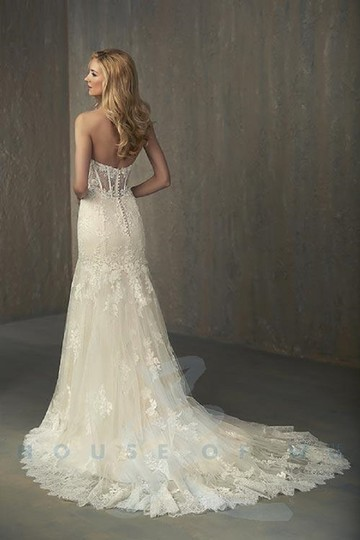 Adrianna Papell Ivory Over Light Gold Lace/Tulle/Grosgrain 31052 Feminine Wedding Dress Size 14 (L) Image 1