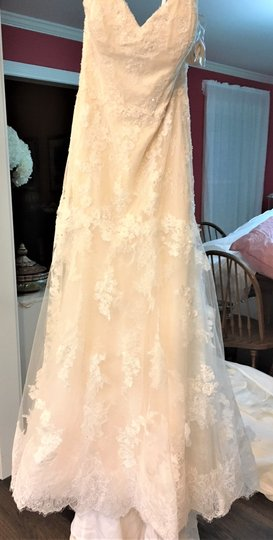 Adrianna Papell Ivory Over Light Gold Lace/Tulle/Grosgrain 31052 Feminine Wedding Dress Size 14 (L) Image 4