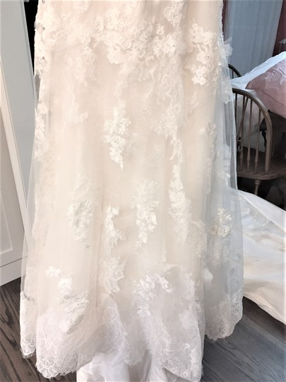 Adrianna Papell Ivory Over Light Gold Lace/Tulle/Grosgrain 31052 Feminine Wedding Dress Size 14 (L) Image 5