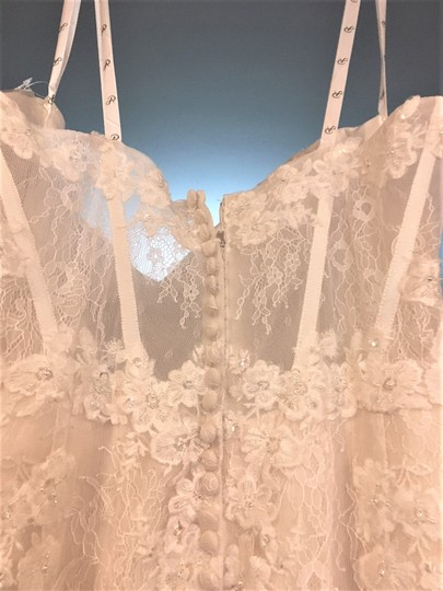 Adrianna Papell Ivory Over Light Gold Lace/Tulle/Grosgrain 31052 Feminine Wedding Dress Size 14 (L) Image 6