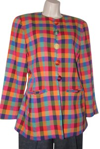 Emanuel Ungaro Edgy Modern Look Mint Condition By Bold Design Longer & Collarless orange, blue, pink, and green plaid Blazer