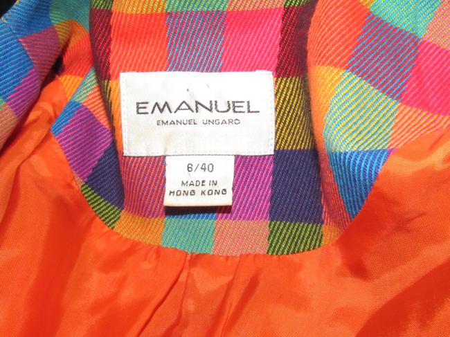 Emanuel Ungaro Edgy Modern Look Mint Condition By Bold Design Longer & Collarless orange, blue, pink, and green plaid Blazer Image 1