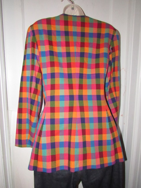 Emanuel Ungaro Edgy Modern Look Mint Condition By Bold Design Longer & Collarless orange, blue, pink, and green plaid Blazer Image 11