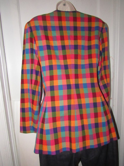 Emanuel Ungaro Edgy Modern Look Mint Condition By Bold Design Longer & Collarless orange, blue, pink, and green plaid Blazer Image 2