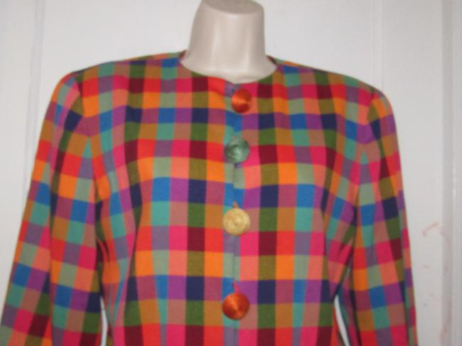 Emanuel Ungaro Edgy Modern Look Mint Condition By Bold Design Longer & Collarless orange, blue, pink, and green plaid Blazer Image 3