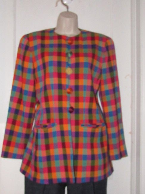 Emanuel Ungaro Edgy Modern Look Mint Condition By Bold Design Longer & Collarless orange, blue, pink, and green plaid Blazer Image 4