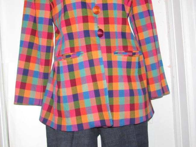 Emanuel Ungaro Edgy Modern Look Mint Condition By Bold Design Longer & Collarless orange, blue, pink, and green plaid Blazer Image 5