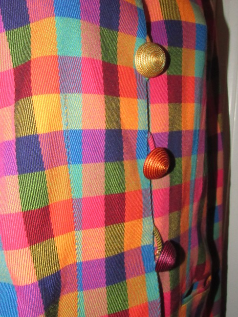 Emanuel Ungaro Edgy Modern Look Mint Condition By Bold Design Longer & Collarless orange, blue, pink, and green plaid Blazer Image 6