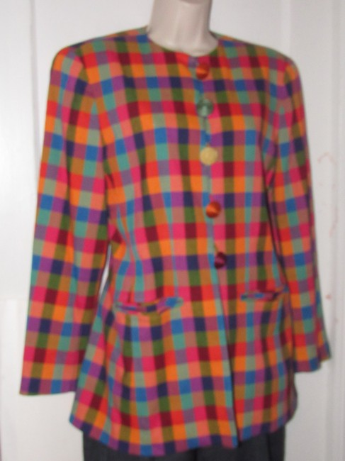 Emanuel Ungaro Edgy Modern Look Mint Condition By Bold Design Longer & Collarless orange, blue, pink, and green plaid Blazer Image 7