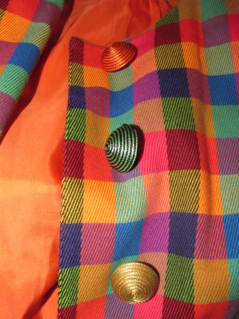 Emanuel Ungaro Edgy Modern Look Mint Condition By Bold Design Longer & Collarless orange, blue, pink, and green plaid Blazer Image 9