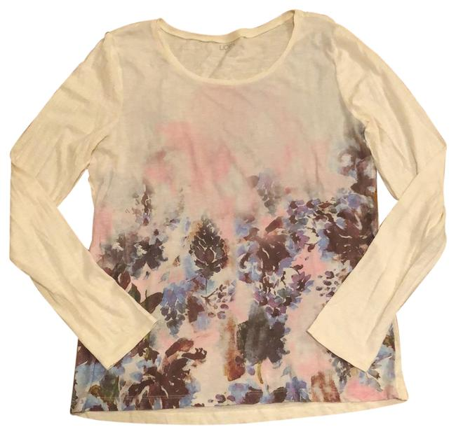 Item - Cream Watercolor Print Long Sleeve Tee Tunic Size 12 (L)