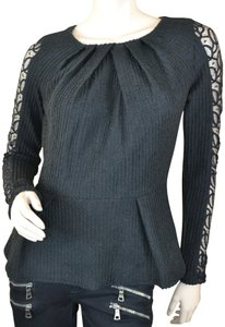 Sugarlips Lace Trim Peplum York Date Night Top Black