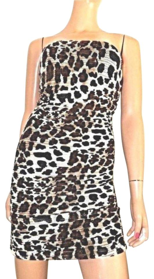 d1888df51f T-Bags Los Angeles Brown Leopard Convertible Mesh Ruched Skirt Night Out  Dress