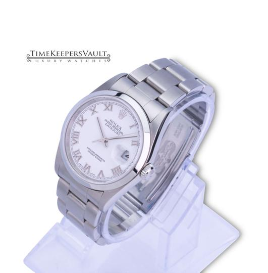 Rolex All Factory Rolex Mens Datejust 16200 White Roman Dial Smooth Bezel Image 1