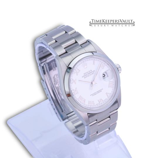 Rolex All Factory Rolex Mens Datejust 16200 White Roman Dial Smooth Bezel Image 3