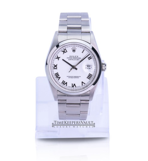 Rolex All Factory Rolex Mens Datejust 16200 White Roman Dial Smooth Bezel Image 4
