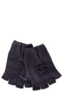 Chanel CHANEL Navy Cashmere Fingerless Gloves