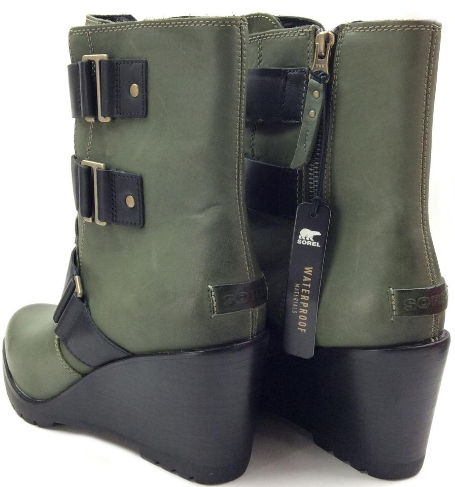 5ec651573b4c Sorel Black Hunter Nori Green After Hours™ Women s Leather Boots Booties  Size US 8.5 Regular (M