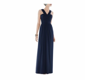 Alfred Sung Navy Chiffon Shirred Traditional Bridesmaid/Mob Dress Size 2 (XS)