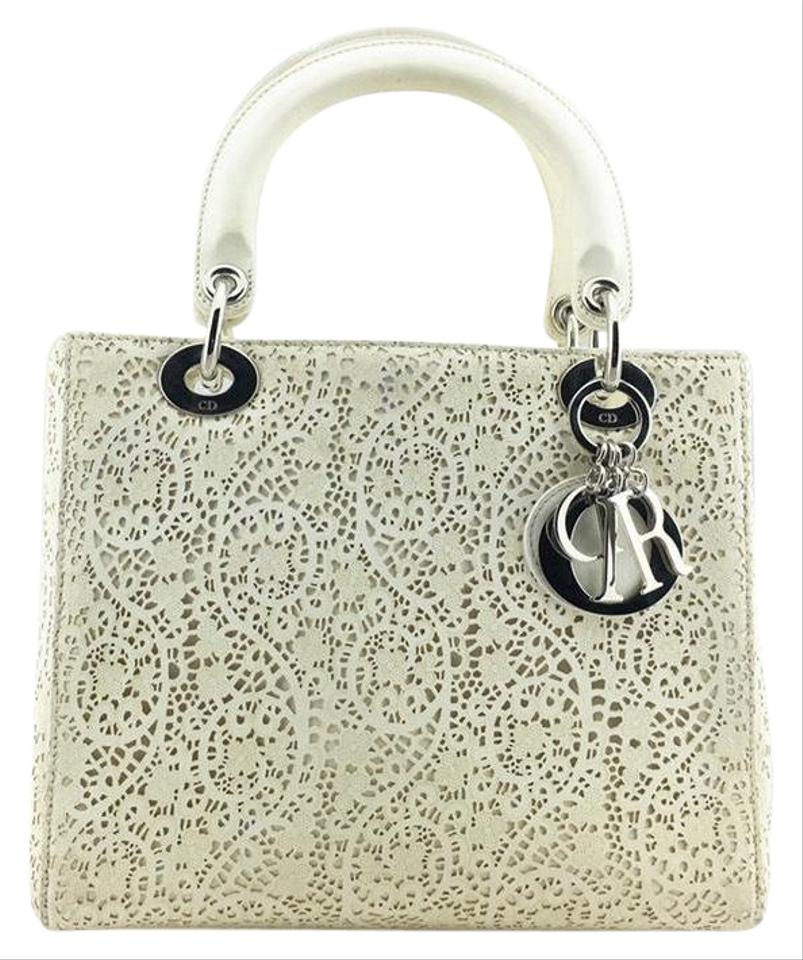 """Dior Lady Dior Limited Edition """"laced Leather"""" Tote Ivory White ... ef332f49cc288"""