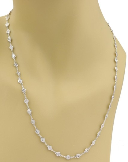 Other New 4.05ct Diamond By The Yard 14k WGold Bezel Set Eternity Necklace Image 1