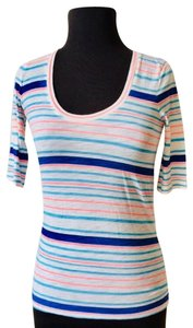 J.Crew Nautical Bold Layering Casual T Shirt Pink and Blue Stripes