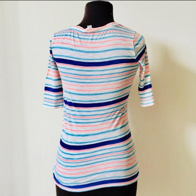 J.Crew Nautical Bold Layering Casual T Shirt Pink and Blue Stripes Image 1
