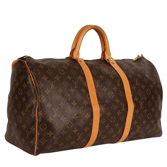 Louis Vuitton Keepall 50 Monogram Leather Canvas Duffle Brown Travel Bag Image 1