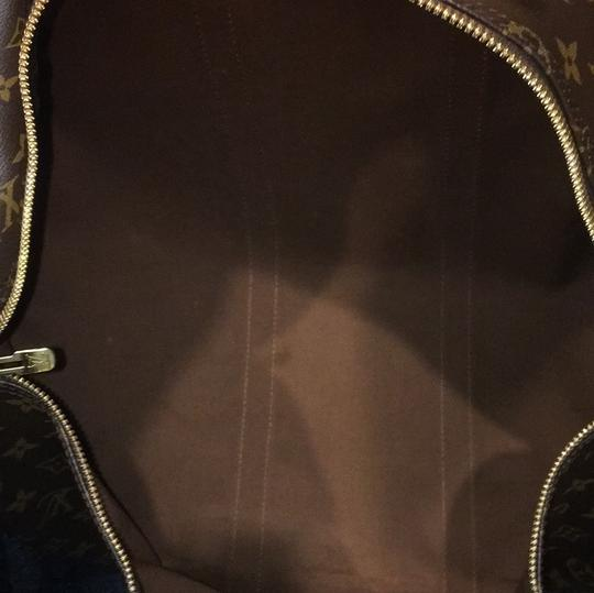 Louis Vuitton Keepall 50 Monogram Leather Canvas Duffle Brown Travel Bag Image 11