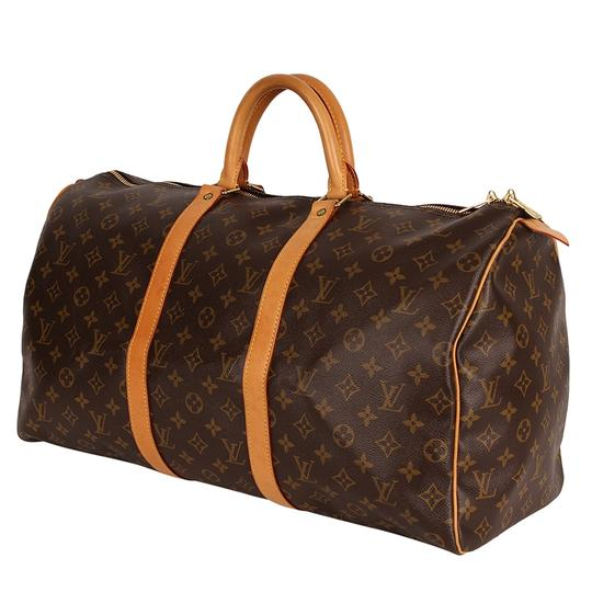 Louis Vuitton Keepall 50 Monogram Leather Canvas Duffle Brown Travel Bag Image 2
