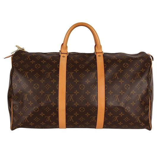 Louis Vuitton Keepall 50 Monogram Leather Canvas Duffle Brown Travel Bag Image 3